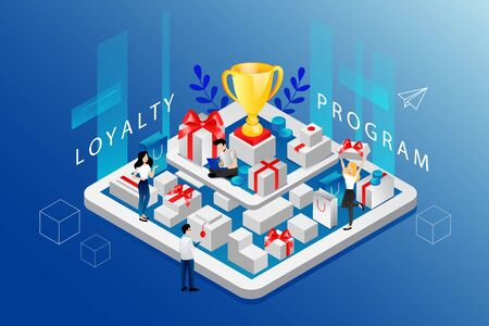 Isometric Loyalty Program And Cashback Concept. Website Landing Page. People Develop Strategy Of Reward Program For Customers Standing On Big Tablet With Purchases. Web Page 3D Vector Illustration.