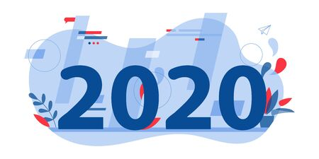 Goals And Resolutions In 2020. Readiness for New Opportunities, Planning Projects, Scheduling Concept. Perspectives in Creation of Innovative Ideas or Technologies. Cartoon Flat Vector Illustration.