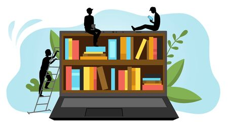 Online Digital Library Concept. Black Silhouettes Of People Use App To Read Books Sitting On Huge Notebook. Internet Bookstore, Remote Classes. Cartoon Linear Outline Flat Style. Vector Illustration