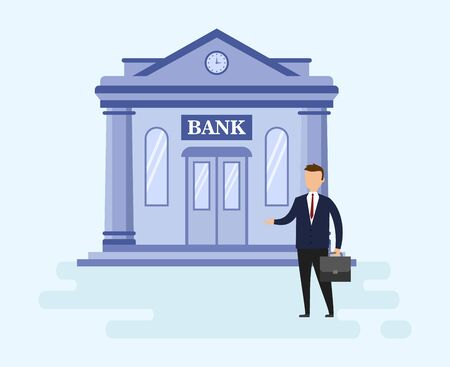 House Mortgage Loan And Money Investments Types Concept. Self Confident Young Businessman Is Standing Before Bank Building. Metaphor Of Successful Investment. Cartoon Flat Style. Vector Illustration