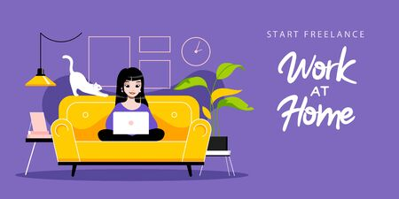 Concept Of Freelance Remote Work. Freelancer Girl Typing On Laptop Sitting On Sofa. Remote Work And Work From Anywhere. Woman Working On Laptop. Cartoon Linear Outline Flat Style. Vector Illustration