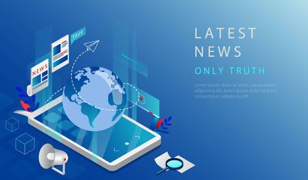 Isometric 3D Concept Of Latest Breaking News. Website Landing Page. Truthful Latest World News And Updates in the World. Smartphone With Globe And Infographic. Web Page Cartoon Vector Illustration