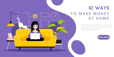 Work From Home Concept. Website Landing Page. Woman Freelancer Works On Laptop. Remote Working Place With Worktools Sitting On Sofa. Web Page Cartoon Linear Outline Flat Style. Vector Illustration