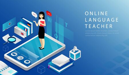 Isometric 3D Concept Of Online Language Teacher, Remote Education Course. Website Landing Page. Woman Is Standing on Big Smartphone Holding Textbook In Hands. Web Page Cartoon Vector Illustration