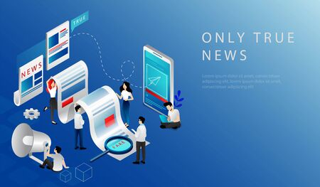Isometric 3D Concept Of Breaking Latest News. Website Landing Page. News Update, Online News. People Publishing True News Based On Information From Reporters. Web Page Cartoon Vector Illustration
