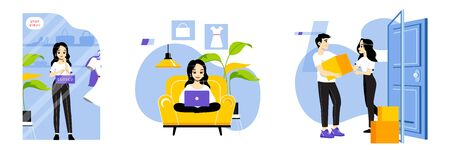 Concept Of Online Shopping. Young Girl Doing Online Shopping From Home. Woman Order On The Internet Goods Sitting On Sofa. Online Purchases From Home. Cartoon Linear Outline Flat Vector Illustration
