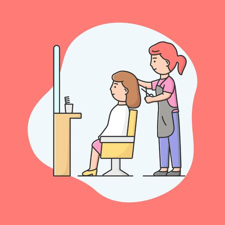 Concept Of Hairdresser Or Barber shop. Woman Stylist With Scissors In Hands Cut Hair And Make Beautiful Hairstyle Of Customer In Barbershop. Cartoon Linear Outline Flat Style. Vector Illustration.