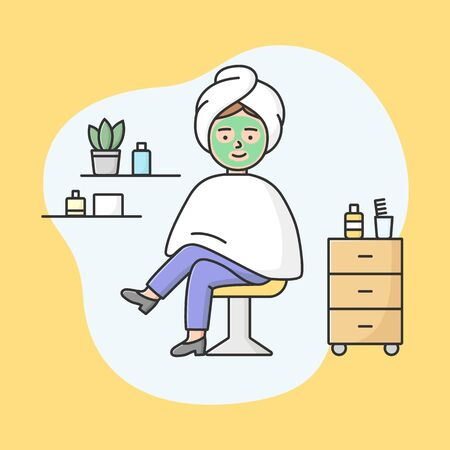 Concept Of Health Care And Beauty. Young Woman Sitting In Spa Salon With Applied Face Treatment Mask. Girl Visit Beauty Salon And Do Spa Procedures. Cartoon Linear Outline Flat Vector Illustration Illustration