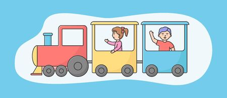 Attractions Park Concept. Happy Children Boy And Girl Ride Train Or Roller coaster In Entertainment Park. Kids Spending Time At Amusement Park. Cartoon Linear Outline Flat Style. Vector Illustration