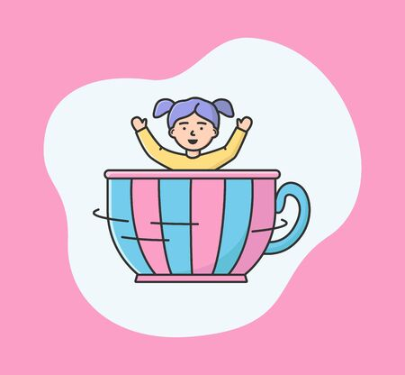 Attractions Park Concept. Happy Girl Ride Carousel In Entertainment Park. Kid Spending Time At Amusement Park, Riding In Big Cup With Hands Up. Cartoon Linear Outline Flat Style. Vector Illustration