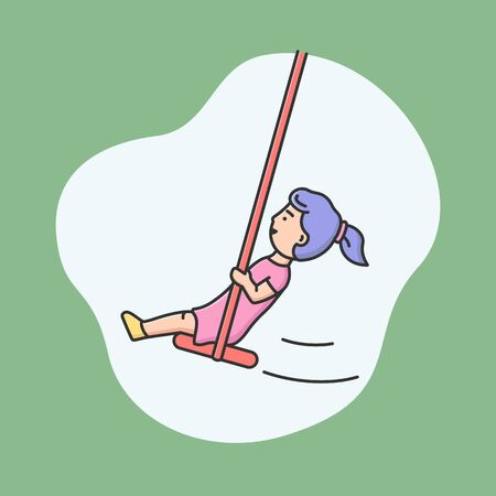 Attractions Park Concept. Happy Girl Swinging In Entertainment Park Or Playground. Kid Is Enjoying And Spending Time At Amusement Park, Riding Swing. Cartoon Linear Outline Flat Vector Illustration.