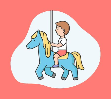 Attractions Park Concept. Happy Little Boy Ride Carousel In Entertainment Park. Kid Spending Time At Amusement Park, Riding Horse On Carousel. Cartoon Linear Outline Flat Style. Vector Illustration.