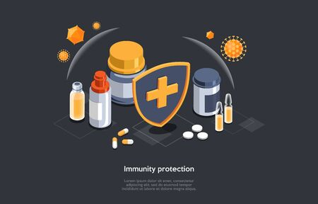 Isometric 3D Concept Of Immunity Protection And Weak Immune System Prevention. Diet Supplements, Vitamins With Sheild Of Viruses Around. Medical Prevention Human Germ. Cartoon Vector Illustration Illustration