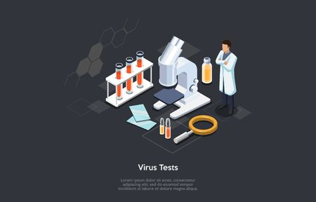 Isometric 3D Concept Of Virus And Blood Tests. Scientist Making Laboratory Research And Tests Of Virus To Make A Vaccine. Science Experiment With Professional Equipment. Cartoon Vector Illustration