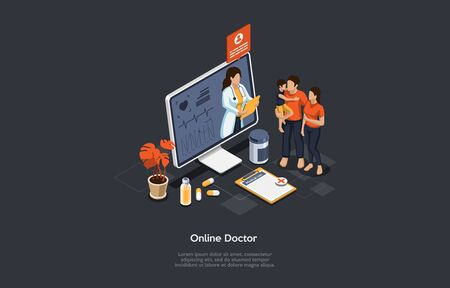 Isometric Concept Of Health Care, Online Doctor And Medical Consultation. Family At Online Doctor s Appointment. Online Medical Support With Woman Doctor On The Screen. Cartoon Vector Illustration. Vetores