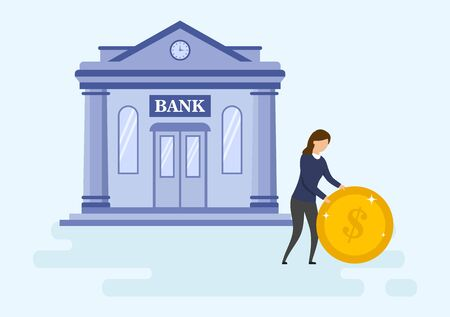 Mortgage Loan, Money Investments Types Concept. Self Confident Young Businesswoman Is Rolling Big Gold Coin Before Bank Building. Metaphor Of Successful Investment. Cartoon Flat Vector Illustration