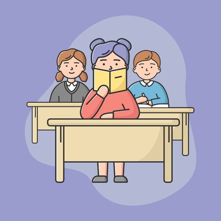 Concept Of High School Education. Students Teens Sitting On Lecture In Classroom. Pupils Boys And Girls Sitting At Desks And Listening Teacher. Cartoon Linear Outline Flat Style. Vector Illustration Illustration