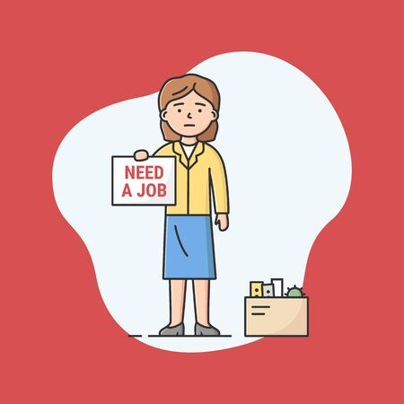 Concept Of Human Resources And Economic Crisis. Sad Office Worker Searching Job. Fired Woman Holding Placard In Hands With Need Job Inscription. Cartoon Linear Outline Flat Style. Vector Illustration
