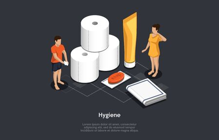 Isometric Concept Of Personal Hygiene Recommendations, Prevention Measures Of Infected By Virus. People Wash Hands With Soap, Use Wet Napkins, Clean Teeth With Toothpaste. Cartoon Vector Illustration