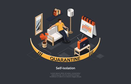 Isometric 3D Concept Of Self Isolation And Quarantine, Health care, Fears of Getting Coronavirus. Man Stays At Home During Quarantine, Relax, Reads Books And Watches TV. Cartoon Vector Illustration