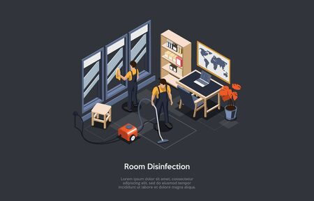 Isometric Concept Of Room Disinfection, Pest Poison Cleaning. People In Special Work Suits Use Vacuum Cleaner And Disinfectant Clean, Disinfecting Room, Office Of Viruses. Cartoon Vector Illustration