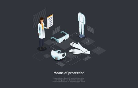 Isometric Concept Of Means Of Virus Infections Protection, Healthcare And Medicine. Woman Pharmacist Stands Near Protective Face Mask And Suit, Rubber Gloves With Goggles. Cartoon Vector Illustration