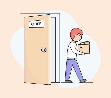 Concept Of Human Resources And Unemployment. Sad Office Worker Going Towards Exit. Fired Boy Leaving His Workplace, Carrying Box With Office Items. Cartoon Linear Outline Flat Vector Illustration Illustration