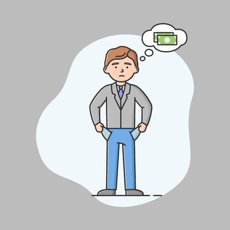 Investments, Difficulties In Business Concept. Puzzled Young Businessman Is Standing Showing Empty Pockets, Thinking Of Money. Boy Needs Money. Cartoon Linear Outline Flat Style. Vector Illustration Illustration
