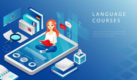 Isometric 3D Concept Of Online Remote Education Language Courses. Website Landing Page. Young Cheerful Girl Is Sitting on Big Smartphone And Reading Textbook. Web Page Cartoon Vector Illustration