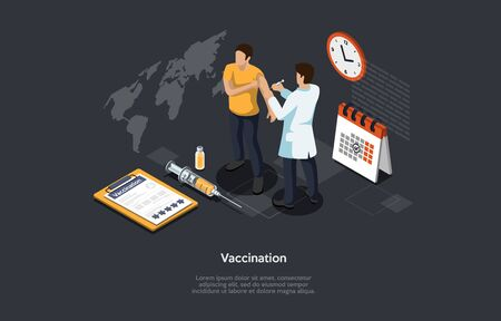 Isometric 3D Concept Of Vaccination Of Population Of Coronavirus, Immunity Protection, Infection Prevention. Man Doctor Make Vaccine A Patient To Prevent Virus Infection. Cartoon Vector Illustration