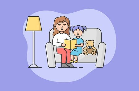 Concept Of Family Spending Time. Mother Is Reading Book To Little Daughter. Girl Listening Fairy Tale, Sitting On Sofa With Mom And Teddy Bear. Cartoon Linear Outline Flat Style. Vector Illustration Illustration