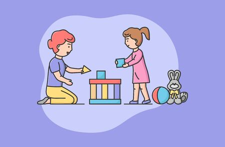 Concept Of Family Spending Time. Happy Mother And Daughter Playing Blocks Together. Mom Helps Daughter To Build Big Beautiful Castle Or House. Cartoon Linear Outline Flat Style. Vector Illustration