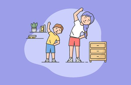 Concept Of Family Spending Time, Heathy Lifestyle. Happy Mother Spending Time With Son. Woman Doing Morning Exercise Indoor With Little Boy. Cartoon Linear Outline Flat Style. Vector Illustration