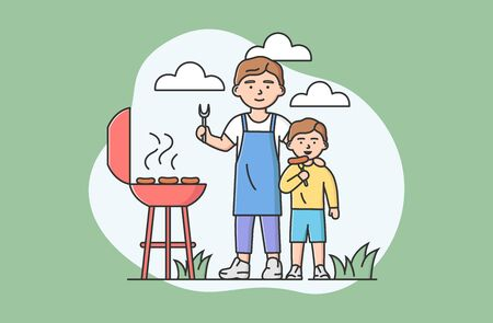Concept Of Family Spending Time. Happy Father And Son Making Grill Outdoors Together. People Fry Sausages, Communicate And Have Good Time Together. Cartoon Linear Outline Flat Vector Illustration