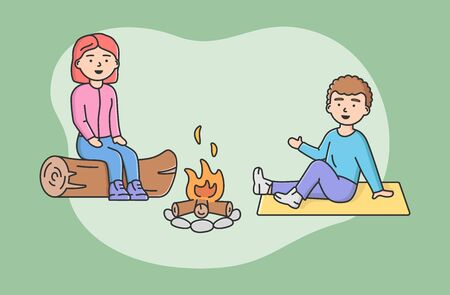 Concept Of Family Spending Time. Happy Mother And Son Sitting On Log At Campfire Together. People Communicate And Have Good Time Together On Vacations. Cartoon Linear Outline Flat Vector Illustration