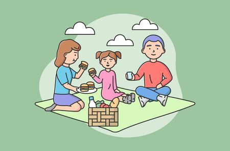 Concept Of Family Joint Spending Time. Happy Family Rest At Picnic. People Sitting On Blanket, Eating Hamburgers, Have Good Time Together On Vacations. Cartoon Linear Outline Flat Vector Illustration