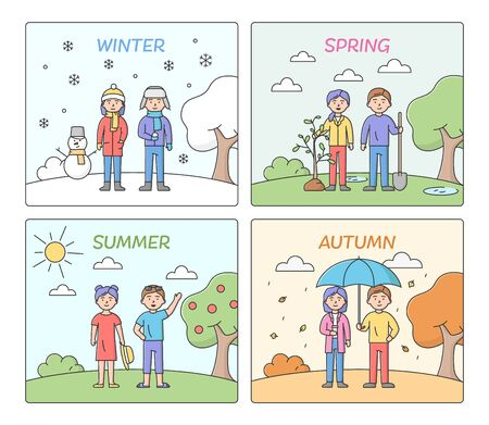 Concept Of Seasons. People Leisure And Clothes According To Time Of The Year. Summer, Autumn, Winter And Spring With Male And Female Characters. Cartoon Linear Outline Flat Vector Illustrations Set