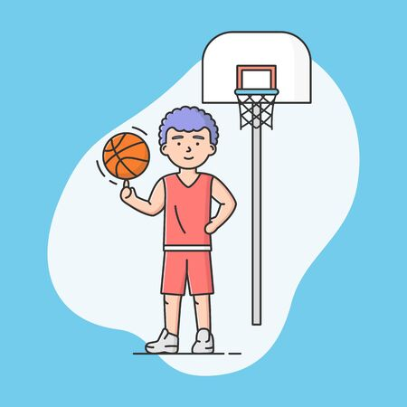 Concept Of Active Sport And Healthy Lifestyle. Young Cheerful Boy Plays Basketball At School Or University. Basketball Player. Sports Team Games. Cartoon Linear Outline Flat Style Vector Illustration