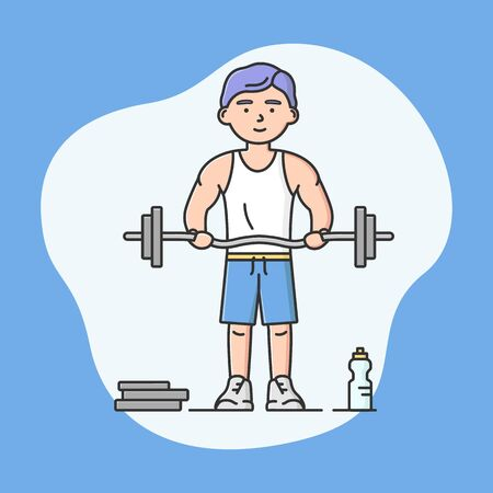 Professional Active Sport And Healthy Lifestyle Concept. Young Cheerful Boy Is Lifting Dumbbell. Bodybuilder Is Exercising. Sports Competitions. Cartoon Linear Outline Flat Style. Vector Illustration