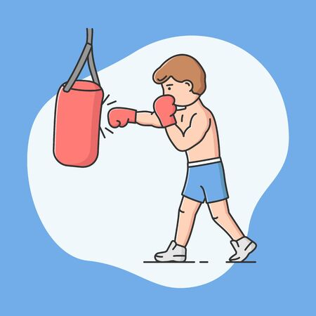 Professional Active Sport, Sports Competitions And Healthy Lifestyle Concept. Young Cheerful Boy Is Boxing. Male Charater Kicking Punching Bag. Cartoon Linear Outline Flat Style. Vector Illustration