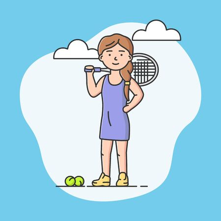 Professional Active Sport And Healthy Lifestyle Concept. Young Cheerful Girl Plays Tennis At School Or University. Tennis Player. Sports Team Games. Cartoon Linear Outline Flat Vector Illustration