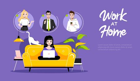 Concept Of Freelance Remote Work. Website Landing Page. Girl Freelancer Typing On Laptop. Woman Communicate With Friends On Internet. Web Page Cartoon Linear Outline Flat Style. Vector Illustration Illustration