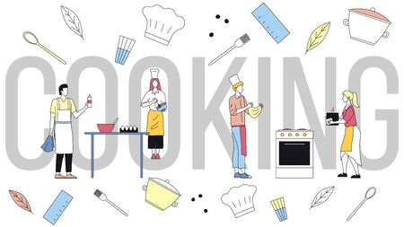 Concept Of Cooking. Group Of People Cook Meal. Professional Chefs In Uniform Kneading Dough For Pizza, Scrambling Eggs, Prepare Ingredients For Dish. Cartoon Linear Outline Flat Vector Illustration.
