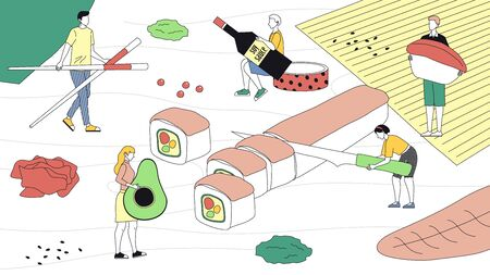 Japanese Traditions And Food, Oriental Cuisine, Authentic Eastern Culinary. Tiny Characters Cooking Sushi. People Bring Ingredients, Make Sushi rolls. Cartoon Linear Outline Flat Vector Illustration.