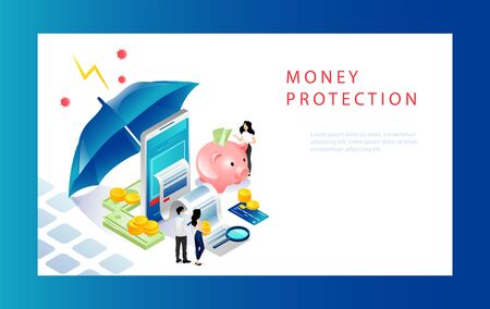 Isometric Money Protection Concept. Moneybox With Gold Coins, Business People, Investor, Smartphone And Umbrella Like Shield. Website Landing Page. Web Page Cartoon Linear Outline Vector Illustration. Ilustração Vetorial