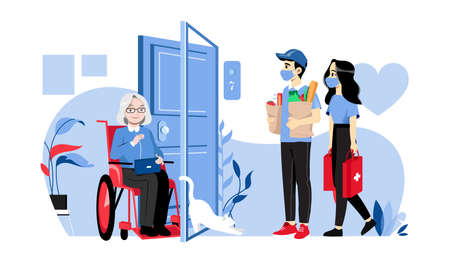 Concept Of Elderly People Help. Senior Woman In Wheelchair Meets Volunteers. Young People Have Delivered Food Supply And Medicine To Aged Woman Home. Cartoon Linear Outline Flat Vector Illustration