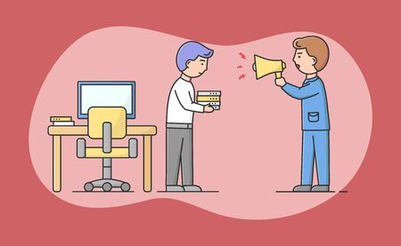 Concept Of Jobless, Difficulties At Work. Angry Boss Yelling At Employee With Loudspeaker. Young Dismissed Employee Ready To Leave Workplace. Cartoon Linear Outline Flat Style. Vector Illustration