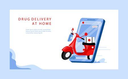 Concept Of Medicine Online Order And Delivery. Website Landing Page. Modern Motorbike With Box With Medicine On The Smartphone Screen. Web Page Cartoon Linear Outline Flat Style. Vector Illustration