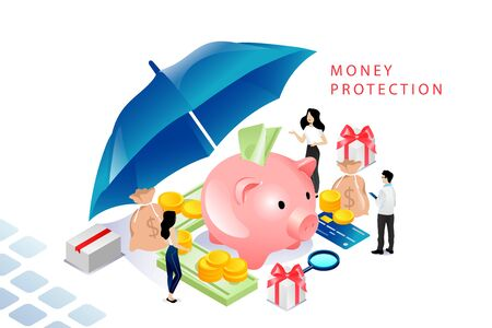 Isometric Money Protection Concept. Moneybox Piggy bank With Gold Coins And Dollar Banknotes, Business People, Investor, Credit Card, Umbrella Like Shield. Cartoon Linear Outline Vector Illustration