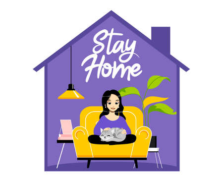 Concept Of Behavior During Coronavirus Epidemic. Young Woman Sitting In Armchair And Stroking Cat. Fashion Home Interior With Stay Home Inscription. Cartoon Linear Outline Flat Vector Illustration